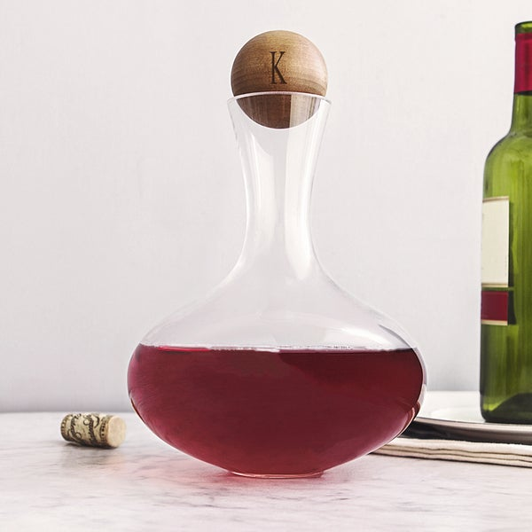 Personalized 67.62 ounce Large Wine Decanter with Wood Stopper