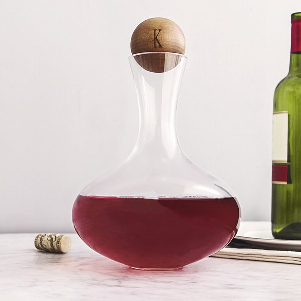 Personalized 67.62 ounce Large Wine Decanter with Wood Stopper - 67.62 oz