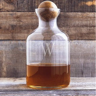 Personalized 56 oz. Glass Decanter with Wood Stopper - 56 oz