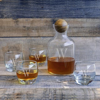 5-piece Personalized Glass Decanter with Wood Stopper Set