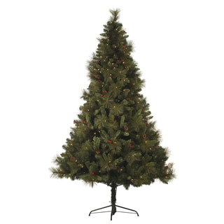 6.5-foot Pre-lit Mixed Pine Cone and Berry Christmas Tree