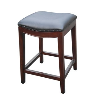 Handmade D-Art Mahogany Bali Wave Black Faux Leather Counter Stool (Indonesia)