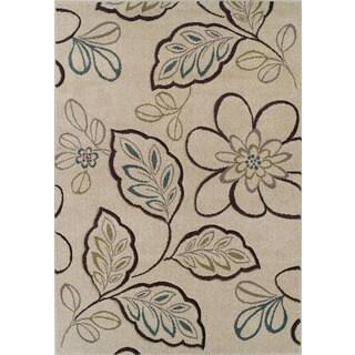 Glow Rectangular Ivory Floral Rug (5'3 x 7'7)
