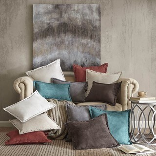 Copper Grove PersicaFeather Down Filled Microsuede Square Pillow (20x20) (Teal)