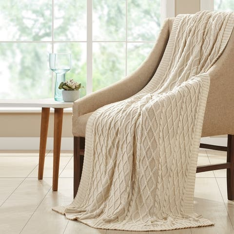 Modern Threads 100-percent Cotton Oversized Cable Knit 50x70 Throw Blanket