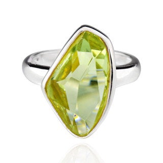 Sterling Silver Special Shape Crystal Solitaire Ring (China)