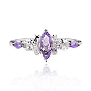 Sterling Silver Marquise Amethyst Ring (China)