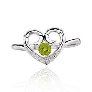 Sterling Silver Round Green Peridot Heart Ring (China)