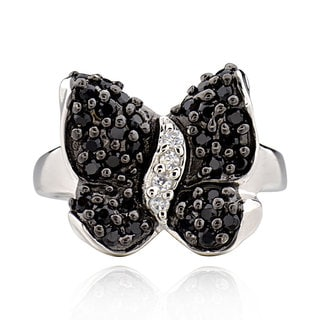 Sterling Silver Round Cubic Zirconia Butterfly Ring (China)