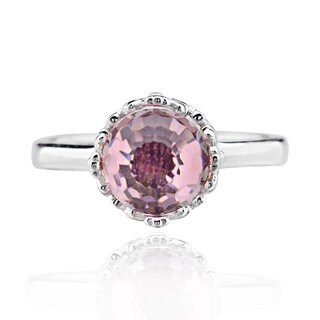 Sterling Silver Special Shape Pink Crystal Solitaire Ring (China)