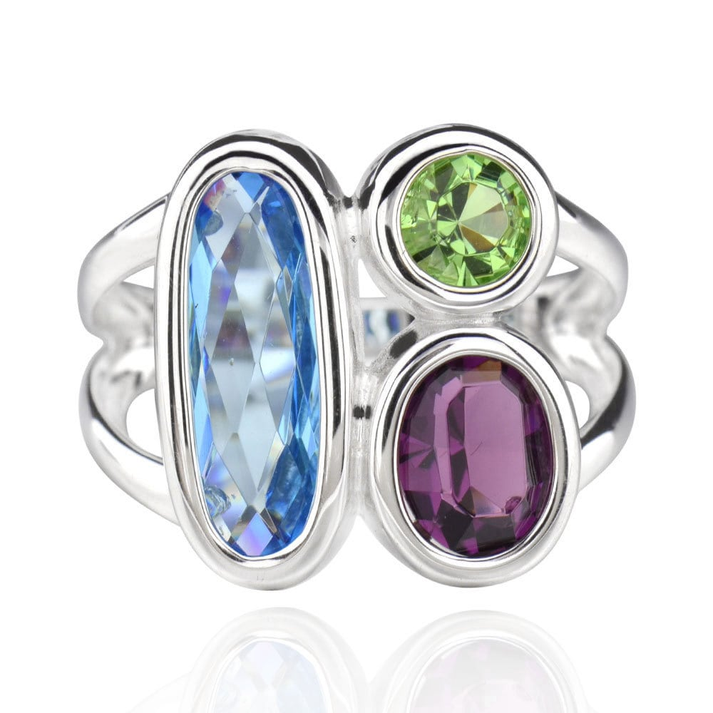 FD Sterling Silver Multi-colored Crystal Ring (China) (6)...