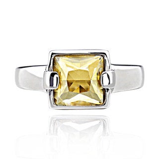 Sterling Silver Golden Crystal Solitaire Ring (China)