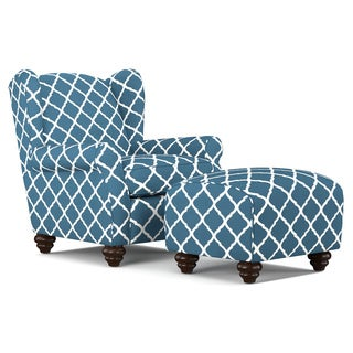 Portfolio Hana Navy Blue Trellis Wingback Chair and Ottoman Set