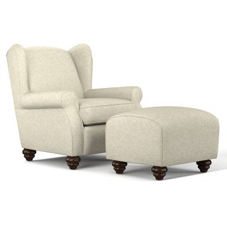 Handy Living Hana Barley Tan Linen Wingback Chair and Ottoman Set