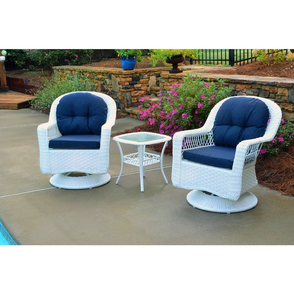 Biloxi Outdoor White Resin Wicker 3-Piece Swivel Glider Set with Blue  Cushions - Biloxi Outdoor White Resin Wicker 3-Piece Swivel Glider Set With