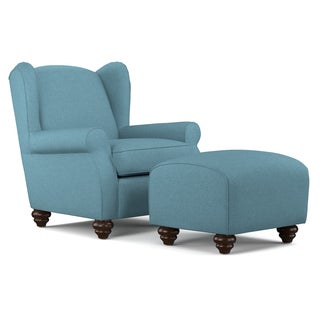 handy living hana caribbean blue linen wingback chair and ottoman set