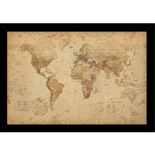 World Map 36-inch x 24-inch Antique Print with Contemporary Poster Frame