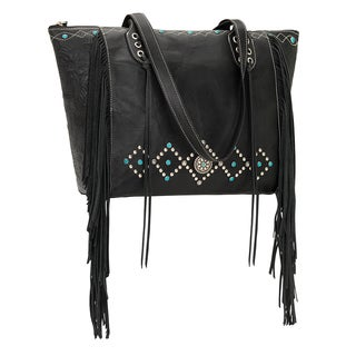 American West 2320724 Black Leather Canyon Creek Tote Bag