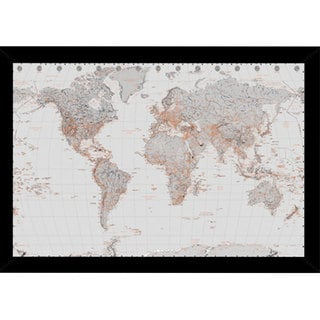 World Map Silver Print (24-inch x 36-inch) with Contemporary Poster Frame