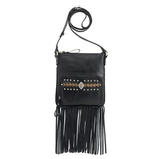 American West 5120493 Moon Dancer Charcoal/ Brown Leather Crossbody Bag