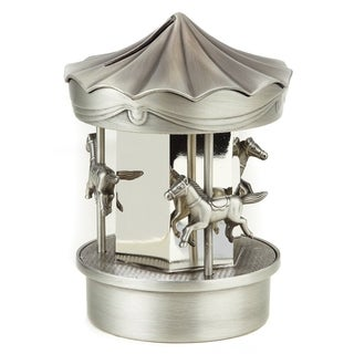 Silver Plated And Pewter Finish Carousel Money Bank
