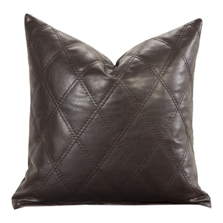Lilo Diamond-stiched Faux Leather Toss Pillow