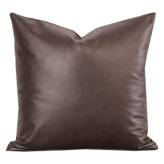 Savoy Cocoa Faux leather Toss Pillow