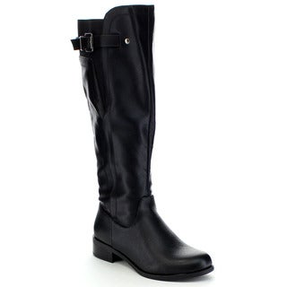 SODA ENCINA Women's Buckle Strap Side Zip Elastic Knee High Riding Boots