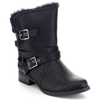 SODA MOIST Women's Faux Fur Multi Adjustable Buckle Strap Ankle Boots