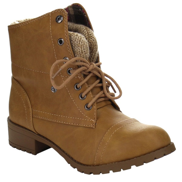 SODA LOANNA Women's Chic Lug Sole Lace Up Fold Over Combat Booties