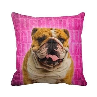 English Bulldog Grunge 16-inch Throw Pillow