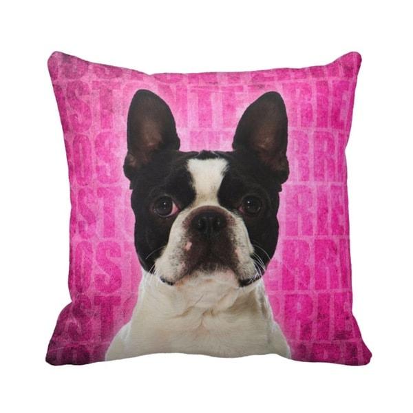 Boston Terrier Grunge 16-inch Throw Pillow