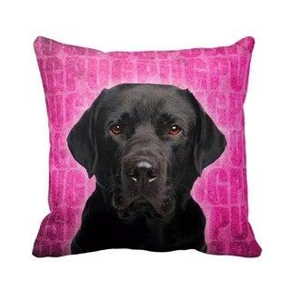 Black Labrador Grunge 16-inch Throw Pillow