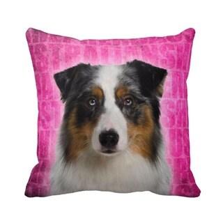 Australian Shepherd Grunge 16-inch Throw Pillow