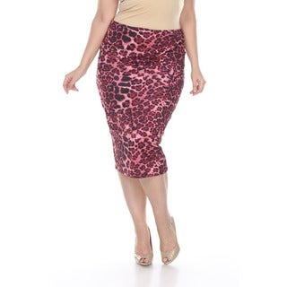 White Mark Women's Plus Size Pretty and Proper Print Pencil Skirt