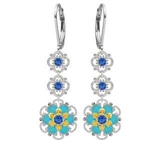 Lucia Costin .925 Silver, Blue, Turquoise Austrian Crystal Earrings
