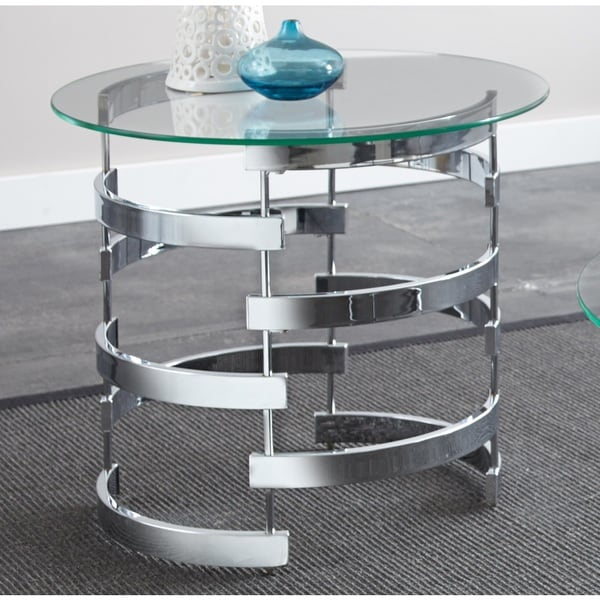 Silver Orchid Bardeen Round End Table