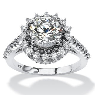 Platinum over Sterling Silver 2 7/8ct Round White and Black Cubic Zirconia Halo Engagement