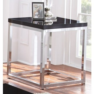 Milan Chrome and Black End Table by Greyson Living
