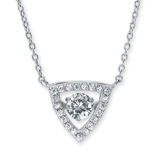 Sterling Silver 3/4ct Round 'CZ in Motion' Cubic Zirconia Triangle Halo Pendant Classic CZ