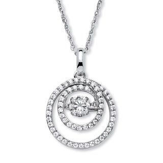 PalmBeach Platinum over Sterling Silver 3/4ct Round 'CZ in Motion' Cubic Zirconia Double Circle Necklace Classic CZ