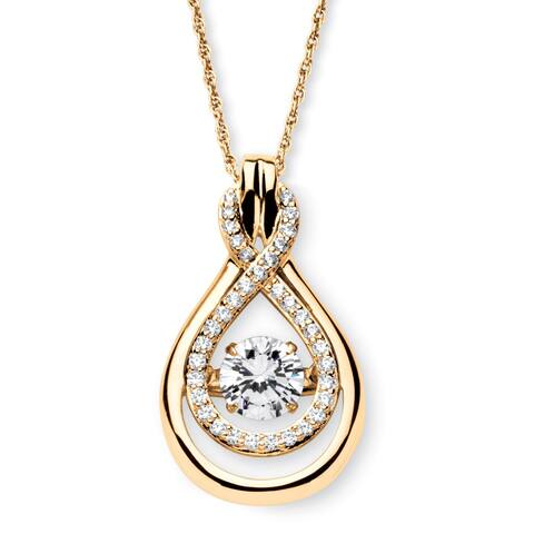 14k Gold over Sterling Silver 1 1/4ct TW Round Cubic Zirconia Drop Necklace