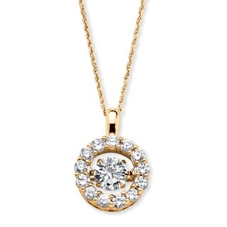 14k Gold over Sterling Silver 1 3/4ct Round 'CZ in Motion' Cubic Zirconia Halo Necklace Cl