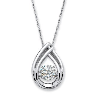 Platinum over Sterling Silver 1ct Round 'CZ in Motion' Cubic Zirconia Teardrop Necklace Cl