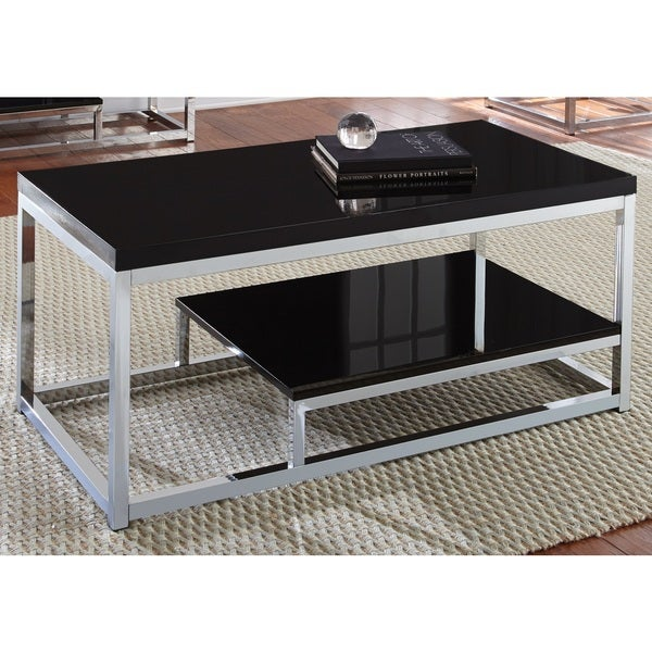 Milan Chrome And Black Coffee Table By Greyson Living