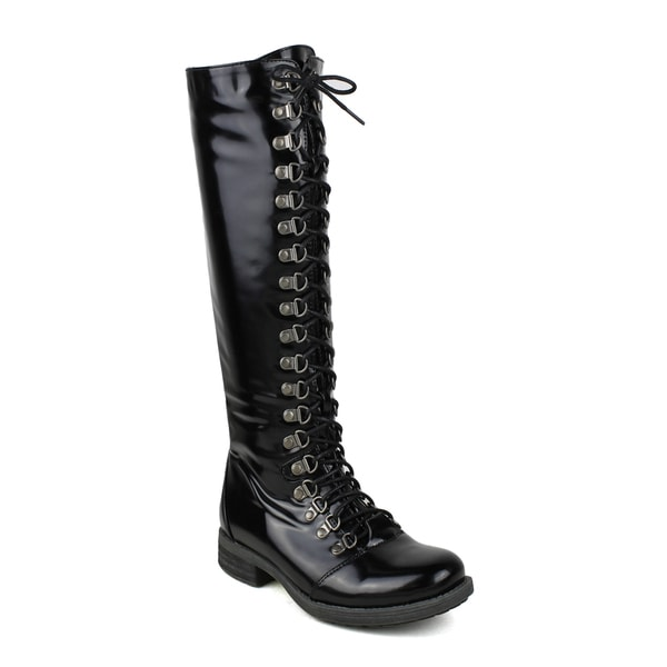 Mark and Maddux Women's Kevin-04 Side-Zipper Knee High Combat Boot