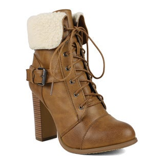 Mark and Maddux Women's Benson-03 Lace-up Chunky Heel Bootie