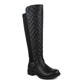 Mark and Maddux women's Travis-09 Quilted Front Stretch Back Women's Knee High Boots