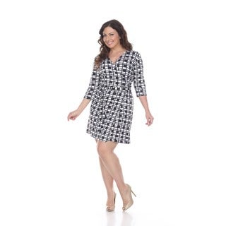 White Mark Women's Plus Size 'Mariah' Plaid Wrap Dress