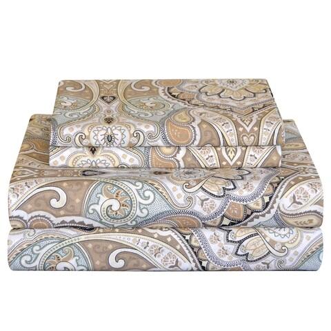 Pointehaven 200 TC Cotton Paisley Printed Percale Sheet Set